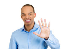 Five sign, or waving Royalty Free Stock Photography