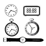 Five silhouettes of clocks Royalty Free Stock Photography