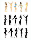 Five silhouettes girls Stock Images