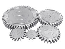 Five silver dollar gears Royalty Free Stock Image