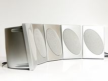 Five Silver Speakers Royalty Free Stock Image