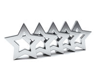 Five silver stars, 3d Stock Photography