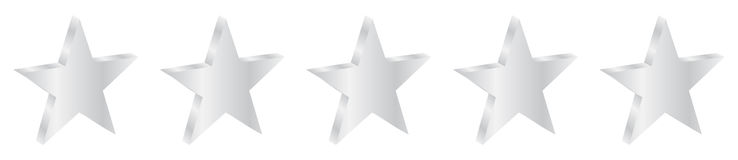 Five Silver Stars Product Quality Royalty Free Stock Photography