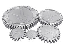 Five silver yuan gears Stock Photo