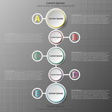 Five simple 3d paper circles on colorful time line in vertical for website presentation cover poster  design infographic. Illustration concept Stock Photo