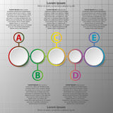 Five simple 3d paper circles on colorful time line for website presentation cover poster  design infographic illustration co. Ncept 1 Royalty Free Stock Photos