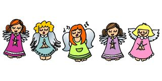 Five singing angels on white. Colorful handdrawn illustration with five singing angels with candles on white background Stock Images