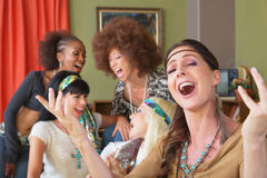 Five Singing Female Hippies Stock Photo