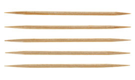 Five single toothpicks Royalty Free Stock Photography