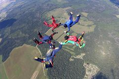 Five skydivers are in the sky. stock photography