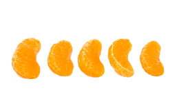 Five slices of ripe and fresh mandarin or Royalty Free Stock Photos