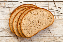 Five slices of rye bread Royalty Free Stock Images