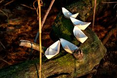 Five small paper boats lie on a mossy tree above the water Royalty Free Stock Photos