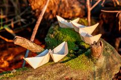 Five small paper origami boats on a mossy tree in the rays of the setting sun lie Stock Photography