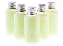 Isolated Green Lotion Bottles Royalty Free Stock Image