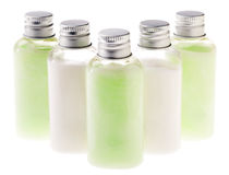 Isolated Green & White Lotion Bottles Royalty Free Stock Photos