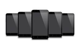 Five Smart Phones  on White Stock Photos