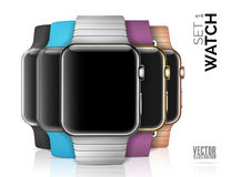 Five smart watches  on white Royalty Free Stock Photography