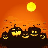 Five smiling halloween pumpkins with bats, clouds and full moon. vector illustration