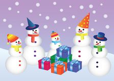 Five snowmen with presents Royalty Free Stock Photo