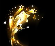 Soaring gold stars on black background. Five soaring, golden, shining stars on black background. Abstract bacgkround vector illustration