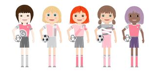 Five soccer player girls with diverse ethnicity. Isolated on white background. Cartoon vector illustration royalty free illustration