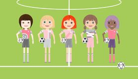 Five soccer player girls with diverse ethnicity. On soccer court background. Cartoon vector illustration stock illustration