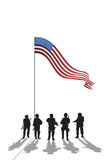 Five soldiers silhouette royalty free illustration