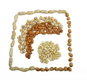 Five sorts of nuts. Picture by different sorts of nuts stock images