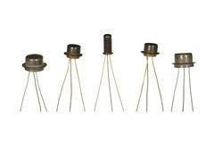Five Soviet-made transistors isolated on white background. Stock Image