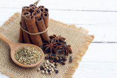 five spice on wooden background. Royalty Free Stock Image