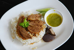 Five Spiced stewed duck on cooked rice Stock Photos