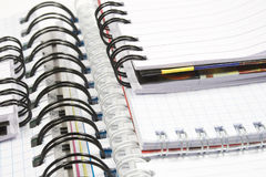 Five spirals notebook. Five opened notebooks with with black and white spiral royalty free stock image