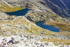 Five Spis Tarns in High Tatras. Five Spis Tarns, Vysoke Tatry (High Tatras), Slovakia royalty free stock photo
