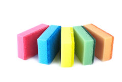 Five sponges of different colors Stock Image