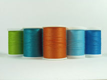 Five spools of cotton thread Royalty Free Stock Image