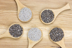 Five spoons filled with chia seeds Royalty Free Stock Images