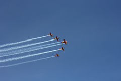 Five sporting aeroplanes in the sky. Five sporting aeroplanes photo in the sky Stock Photos