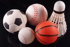 Five sports. Five popular sports in Asia represented by it's ball Stock Images