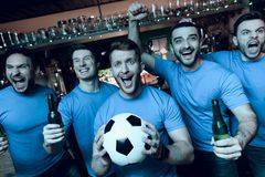 Five sports fans drinking beer celebrating and cheering in front of tv at sports bar. royalty free stock image