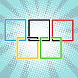 Five sports rings square black blue red green yellow Stock Image