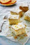 Five squares of mandarine blondie cake Royalty Free Stock Photography