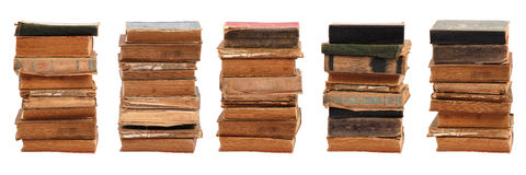 Five stacked old books Royalty Free Stock Images