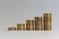 Five stacks of coins Royalty Free Stock Images