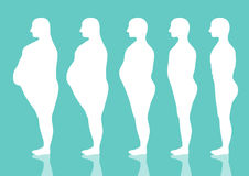 Five stages of silhouette man on the way to lose weight,Vector illustrations Stock Photos