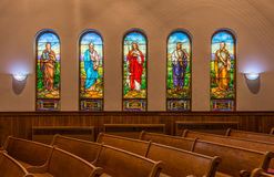 Five stained glass windows. In the Hope Church in Holland, Michigan Stock Photo
