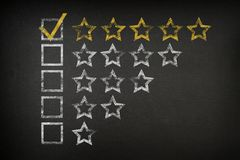 Five Star Checklist Rating On Blackboard royalty free stock photography