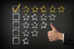 Five Star Checklist Rating With Thumbs Up On Blackboard royalty free stock photo