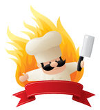Five Star Chef. Chef crest with fiery background Stock Images
