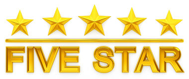 Five Star - 3d rendering. Gold Five Star - 3d rendering Stock Images